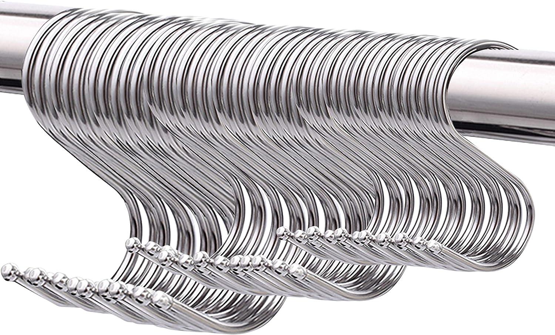 50 Paquete Ganchos en Forma de S, Ganchos multifuncionalesde metal para utensilios de cocina, Oficina, Baño, Garaje, Taller e hogar(Grande, Mediano y pequeño)