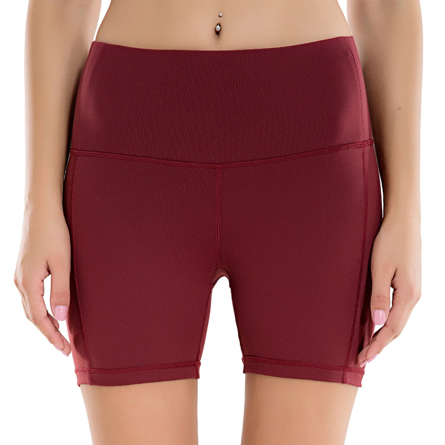Houmous Women's High Waist Yoga Shorts Tummy Control Workout Running Shorts with Back Hidden Pocket for 5.5 Mobile Phone