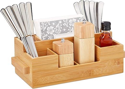 Relaxdays Porta Utensilios Cocina, 7 Compartimentos, Organizador Cubiertos Madera, Bambú, 11,5x35x15cm, Marrón Natural: Amazon.es: Hogar