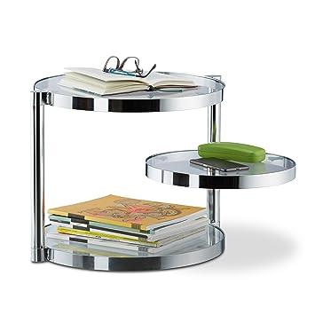 Relaxdays – Mesa de Centro de Cristal Mesa de café con Bandeja giratoria, 3 Platos