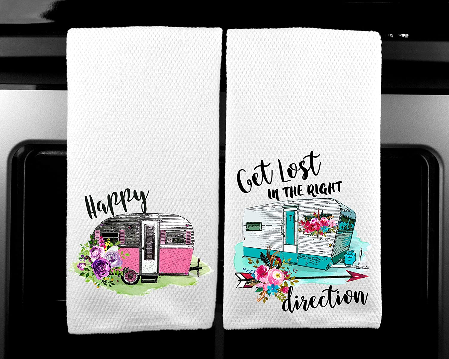 Happy Camper and Get Lost in the Right Direction Vintage Trailer Microfiber Kitchen Towel Set of 2