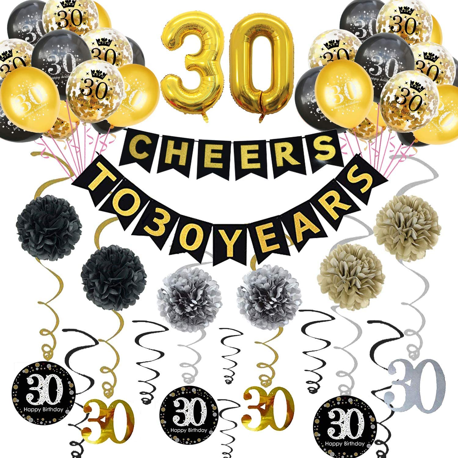 Happy 30th Birthday Banner and Balloons 30th Birthday Party Supplies Anniversary Decorations Sparkling Celebration 30 Hanging Swirls 30th Birthday Gifts for Women//Men 30th Birthday Party Decorations