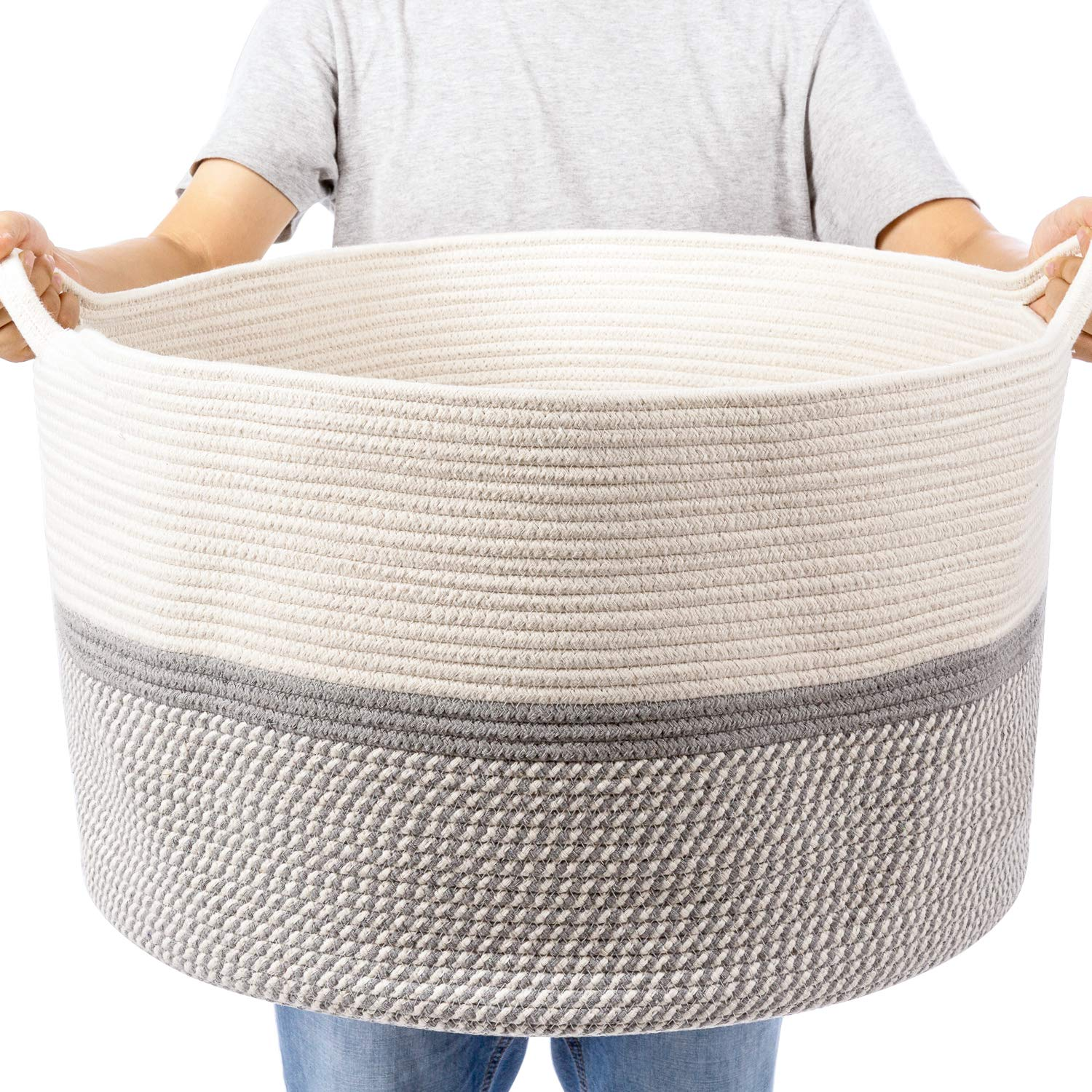 """XXL Extra Large Cotton Rope Woven Basket, Throw Blanket Storage Basket with Handles, Decorative Clothes Hamper - 22"""" x 22"""" x 14"""""""