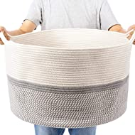 "XXL Extra Large Cotton Rope Woven Basket, Throw Blanket Storage Basket with Handles, Decorative Clothes Hamper - 22"" x 22"" x 14"""