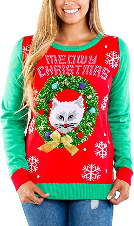 Women's Wreath w/Cat Ugly Christmas Sweater - Funny Tacky Cat Christmas Sweater for Women