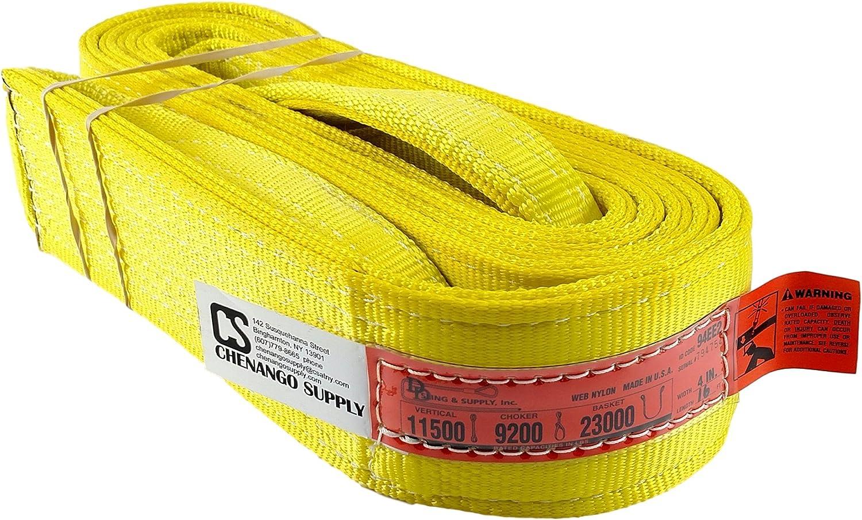 Eslinga DD Sling (hecha en EE.UU.).Diversos tamaños, eslinga de elevación de nylon con doble capa y ojo torcido, de ojo a ojo, soporta cargas pesadas (900 Webbing), capacidad de carga de 2900