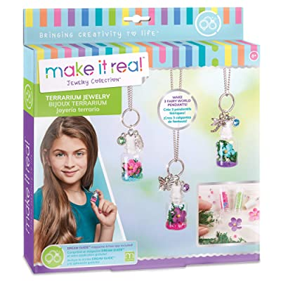 Make It Real - DIY Terrarium Jewelry. Terrarium Bottle Pendant Making Kit for Girls. Arts and Crafts Kit to Design and Create Beautiful Terrarium Pendants with Flowers, Gems, and Charms: Toys & Games