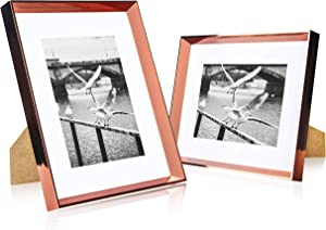 elabo 8x10 Picture Frame (2 Pack) - High Definition Glass Display Pictures 5x7 with Mat or 8x10 Without Mat - Vertical or Horizontal - Wall Mounting or Table Top (Rose Gold)