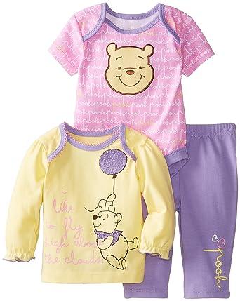 Disney Baby Baby-Girls Pooh 3 Piece Pant Set, Multi, 0/3