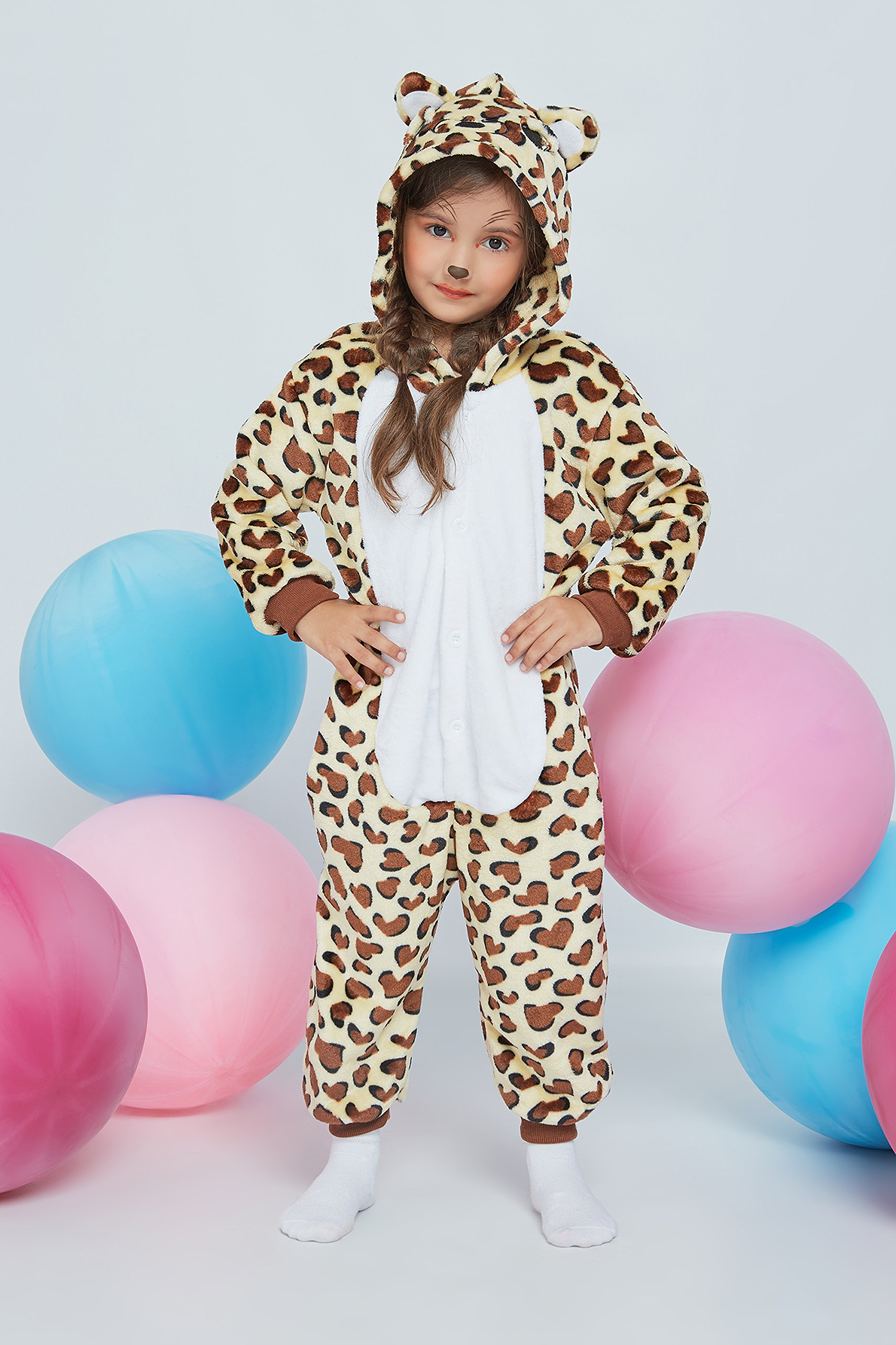 Kids Leopard Kigurumi Animal Onesie Pajamas Plush Onsie One Piece Cosplay Costume (Yellow, Brown, White) by Nothing But Love (Image #3)