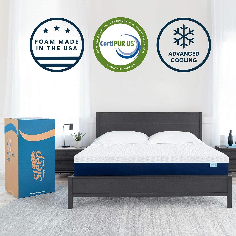 Sleep Innovations Marley 12-inch Memory Foam Mattress, King, White