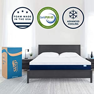 Sleep Innovations Marley 12-inch Cooling Gel Memory Foam Mattress Bed in a Box, Made in the USA, 10-Year Warranty, Queen, White