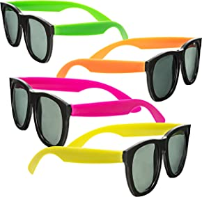 Neon Sunglasses - 80's Style Colorful Party Glasses With Black Plastic Lenses, Party Favors - NJ Novelty (12 Pack)