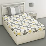 Loreto 144 TC 100% Cotton Single Bedsheet with 1 Pillow Cover, Grey and White Flower