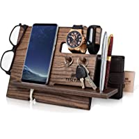 TESLYAR Wood Phone Docking Station Ash Key Hooks Holder Wallet Stand Watch Organizer Men Gift Husband Anniversary…