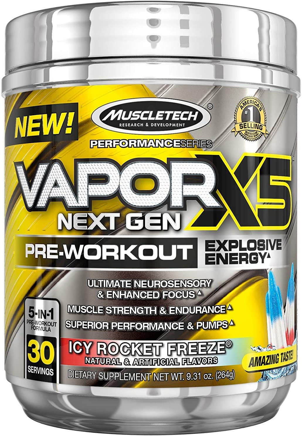 MuscleTech Vapor X5 Next Gen Pre Workout Powder, Explosive Energy Supplement, ICY Rocket Freeze, 30 Servings 9.6oz