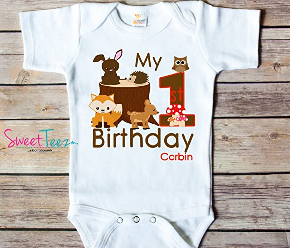 Amazon My First Birthday Shirt Woodlands Animals Baby Bodysuit Personalized With Name And Age Handmade
