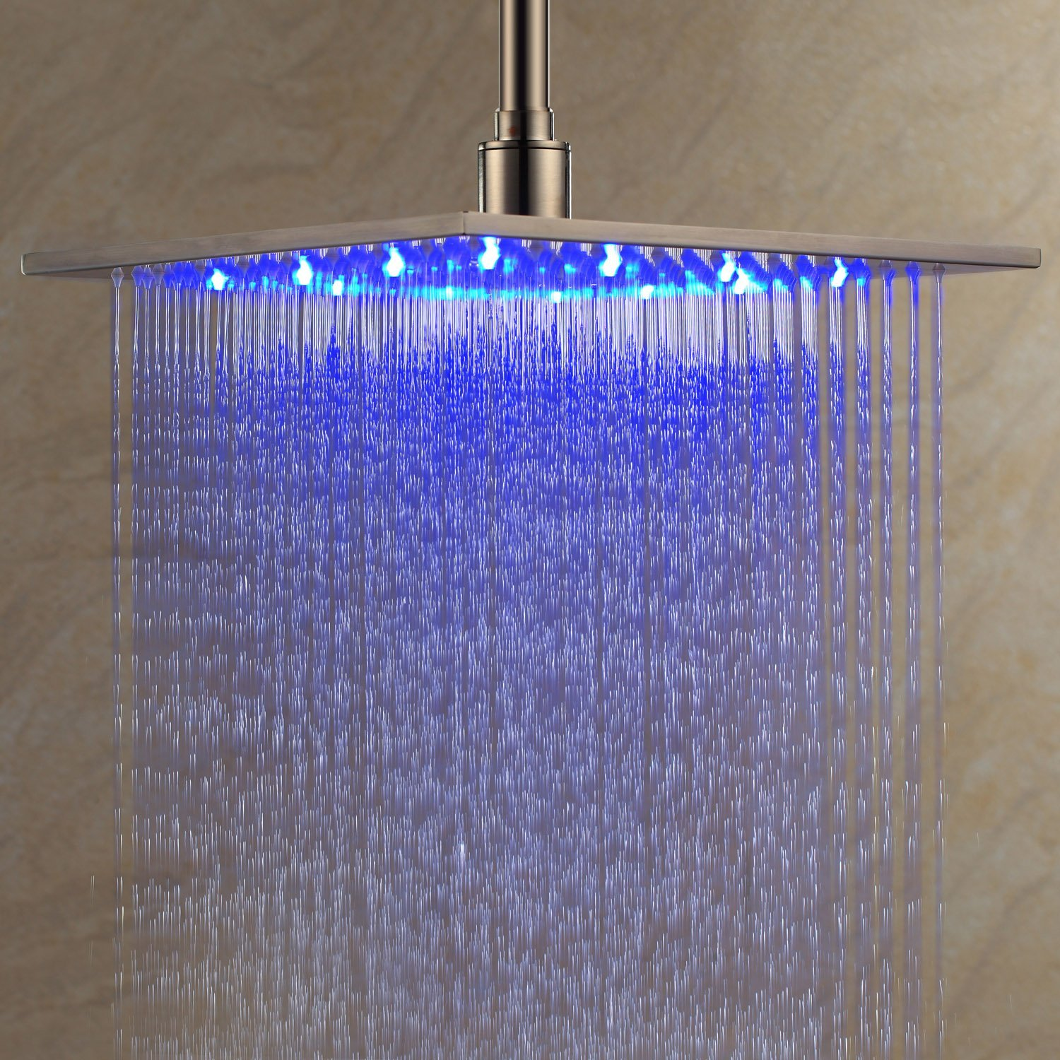 Installation at the head with led lighting - Lightinthebox Ceiling Mount Square 12 Inch Led Shower Head With Color Changing Light Stainless Steel Bathroom Shower Fixed Big Rainfall Bath Taps Mixers