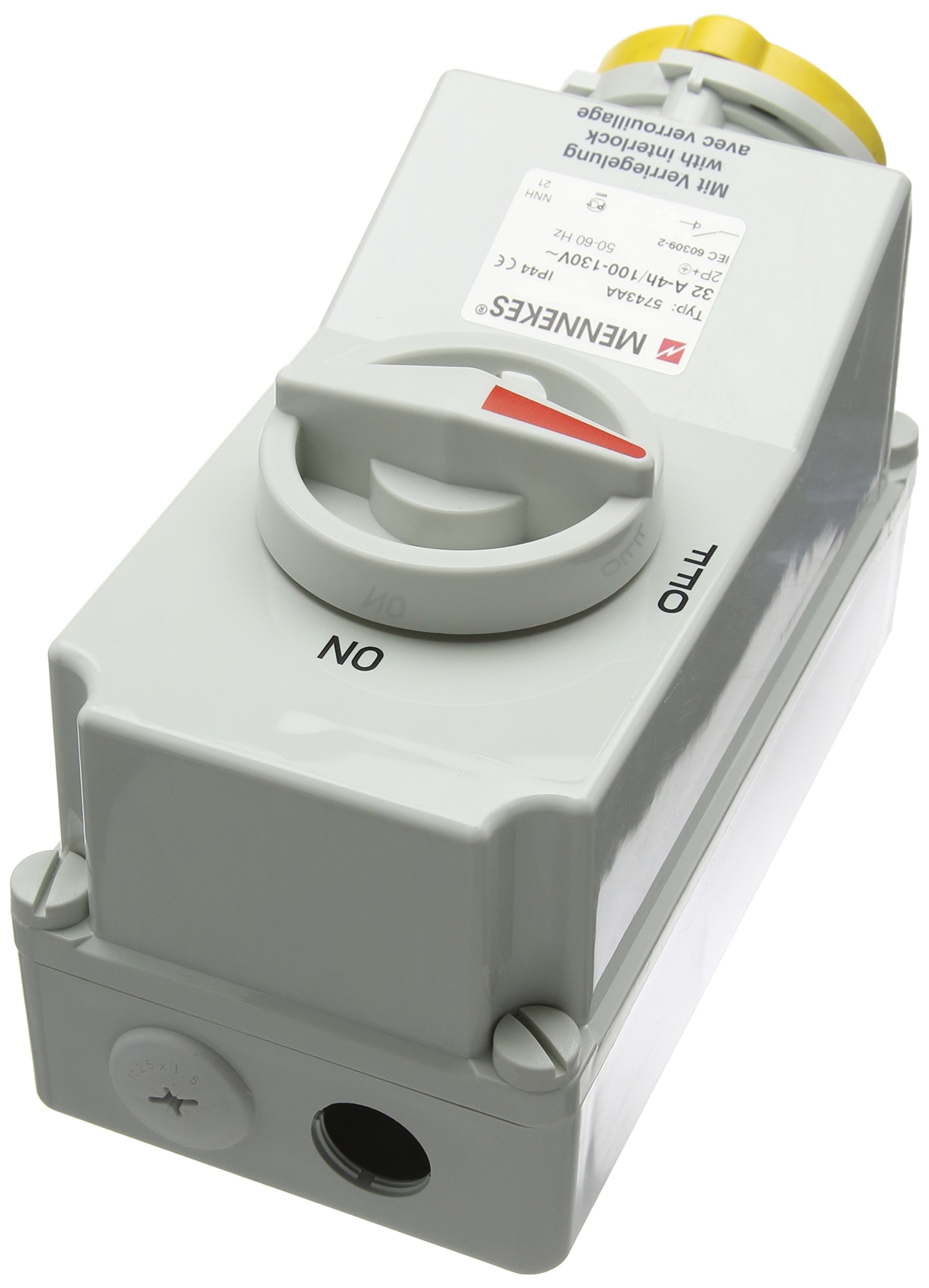 Typ 100 16A 3PIN 110V IP44 Top and Bottom Entry Mennekes Wall mounted socket