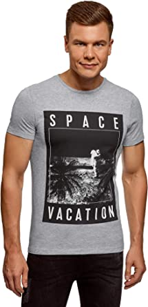 oodji Ultra Hombre Camiseta Estampada de Algodón: Amazon.es: Ropa y accesorios
