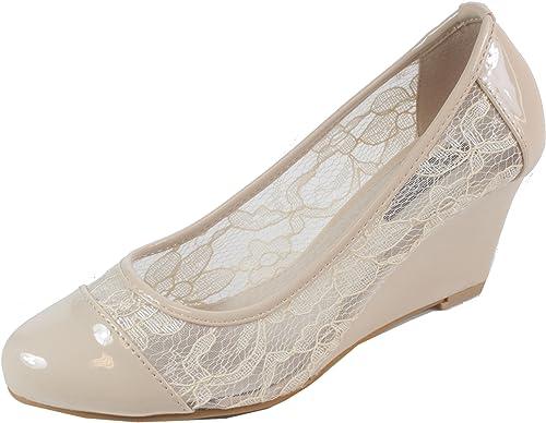Enroma Keilabsatz Schuhe mit Spitze Damen Pumps 36 37 38 39 40 41