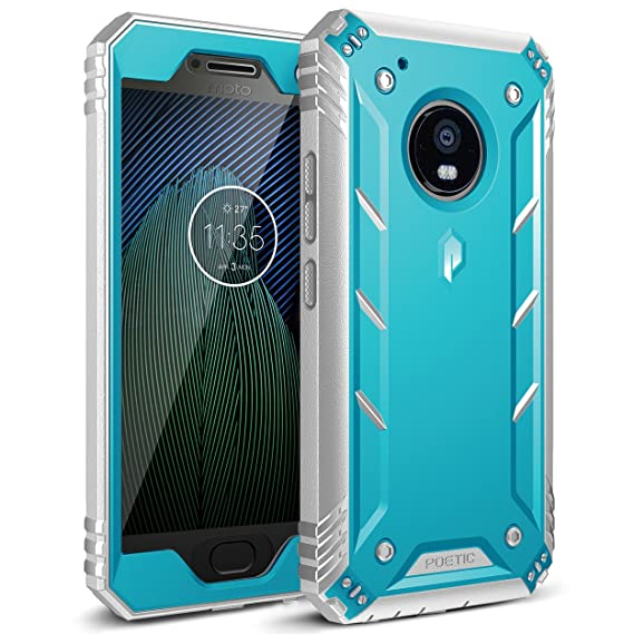 official photos 56774 b6cd1 Poetic Revolution Moto G5 Plus Rugged Case with Hybrid Heavy Duty  Protection and Built-in Screen Protector for Motorola Moto G5 Plus (2017)  Blue/Gray