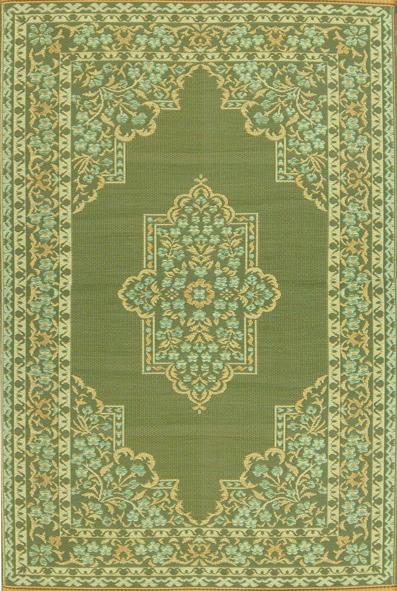 Mad Mats Bouquet Indoor/Outdoor Floor Mat, 6 by 9-Feet, Medium Green