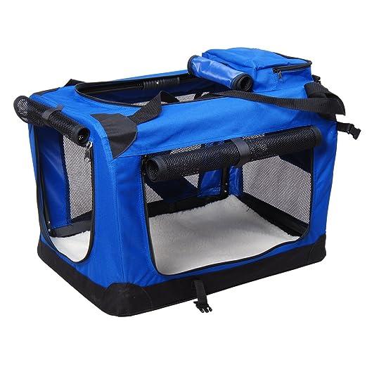 PawHut D1 - 0009 Caja de Transporte para Animales 2 Colores 3 Medidas, Color Azul: Amazon.es: Productos para mascotas