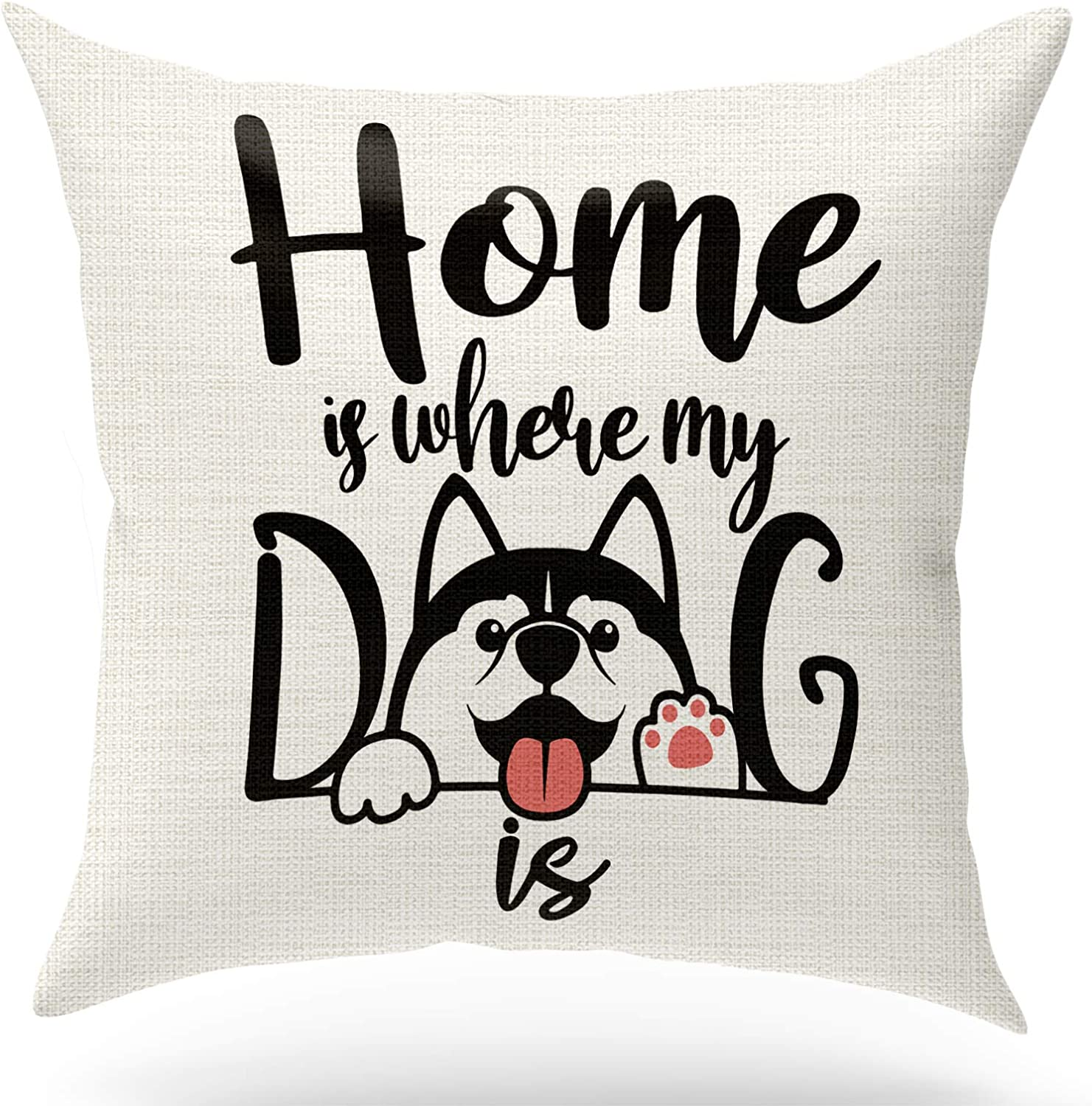 KongMoTree Dog Lover Linen Throw Pillow Case Cushion Cover,Funny Sweet Warm Sayings Home is Where My Dog is,Nursery Decoration Children Room Decorative Home Decor for Sofa Bedroom Office,18x18 inch