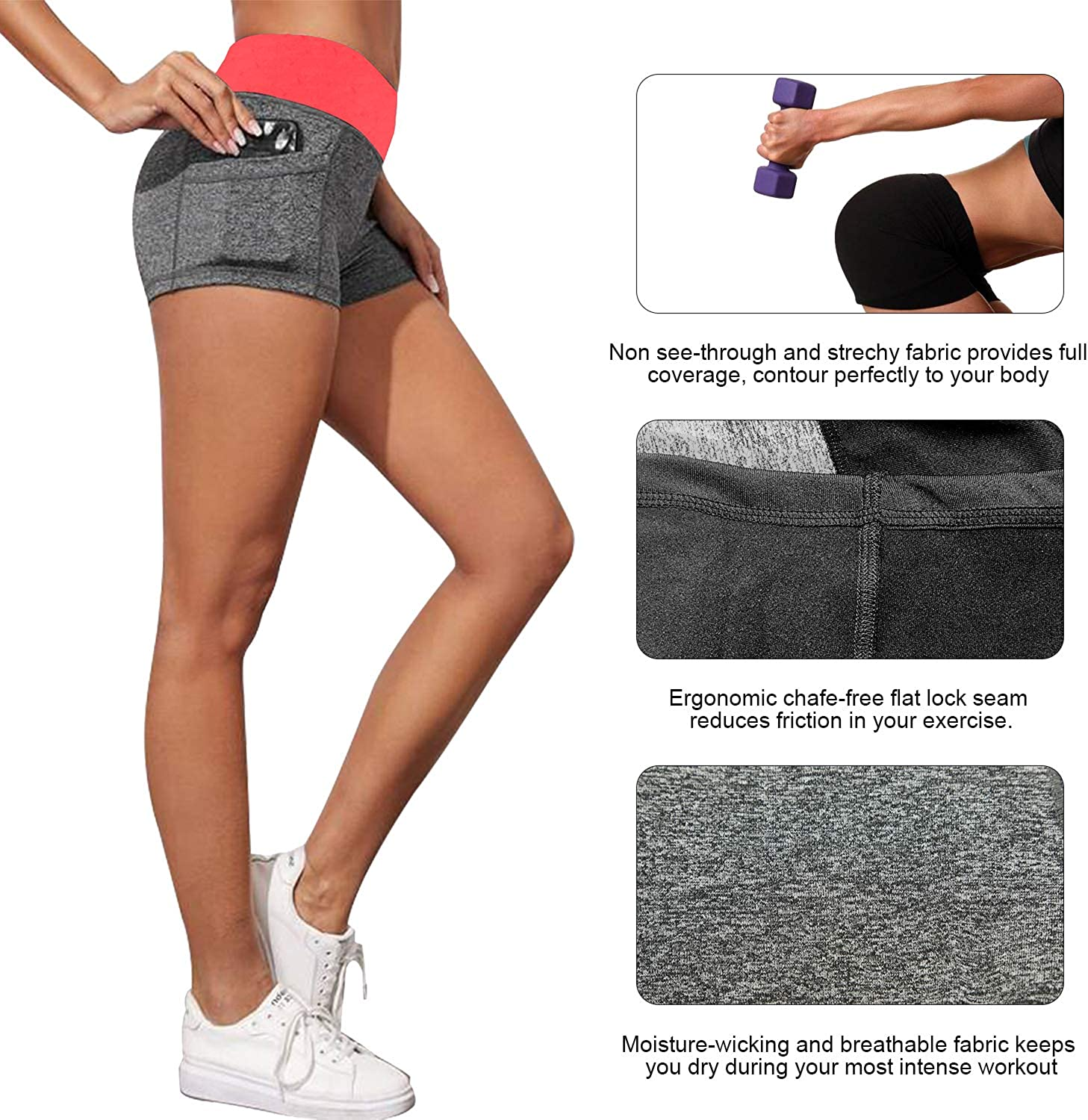 B.BANG Women/'s Elastic Mid Waist Yoga Running Pull-on Sports Short with Side Deep Pockets Workout Shorts