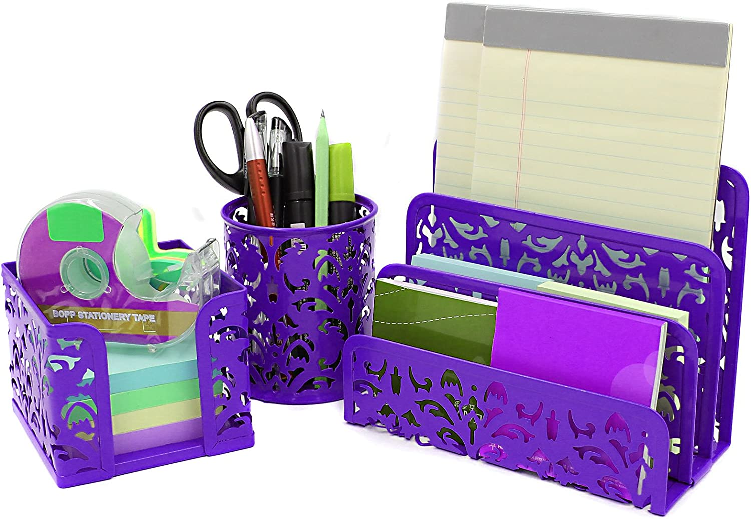 EasyPAG Carved Hollow Flower Pattern 3 in 1 Desk Organizer Set - Letter Sorter, Pencil Holder and Stick Note Holder,Purple