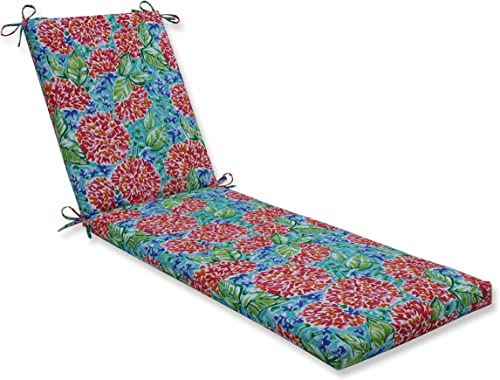 Pillow Perfect Outdoor Indoor Garden Blooms Multi Chaise Lounge Cushion, 80 x 23 , Pink