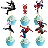 Spiderman Cupcake Toppers,Spider-Man:Into the Spider-Verse Theme Party for Birthday,Baby Shower etc,24 Pcs Cupcake…