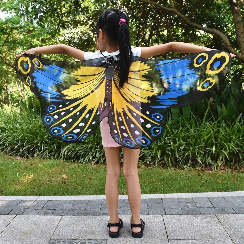 Miyanuby Ali di scialle Farfalla Fata Bambini Princess Dress-up Tessuto Morbido Costume da Mantella di Halloween per Ragazze Bambina Beb/é
