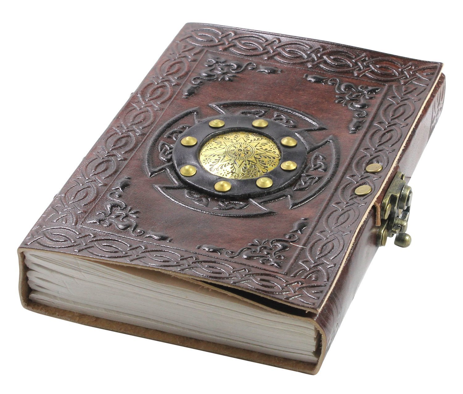 Spell Book of Shadows - Unique Leather Bound Blank Grimoire Journal Notebook Diary With Lock | A5 (6 x 8 inches)