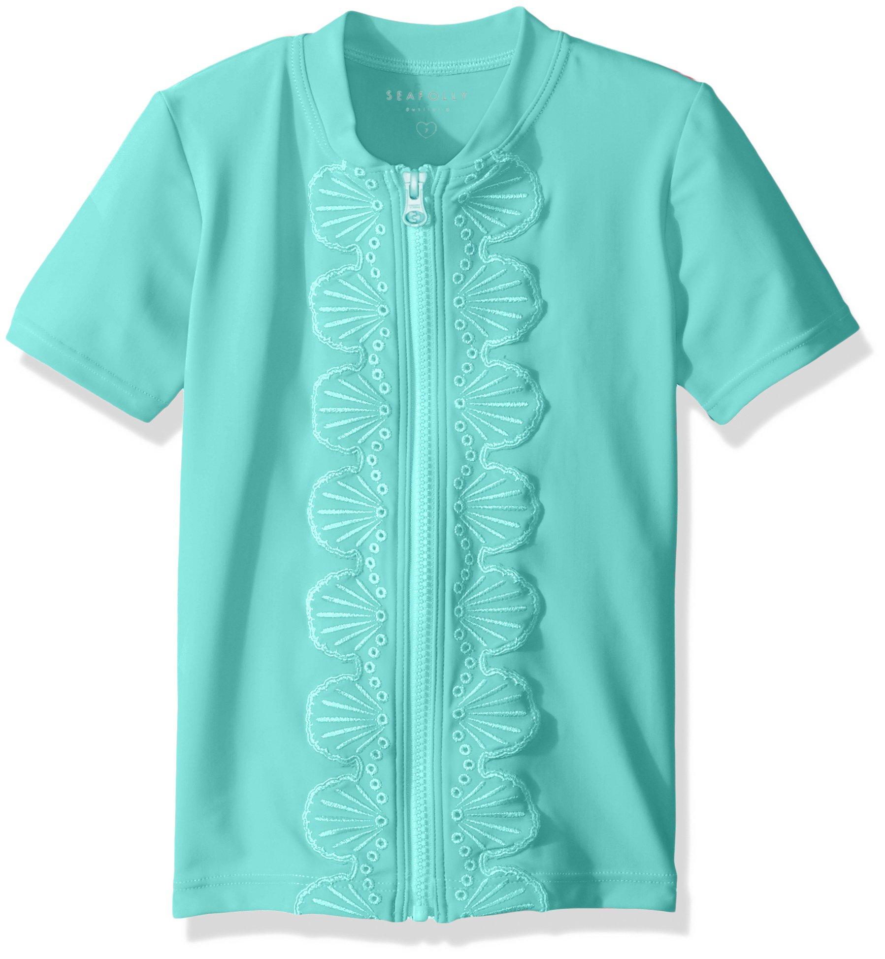 Seafolly Little Girls' Sweet Summer S/s Zip Front Swimsuit Rashguard, Bahama Blue, 6