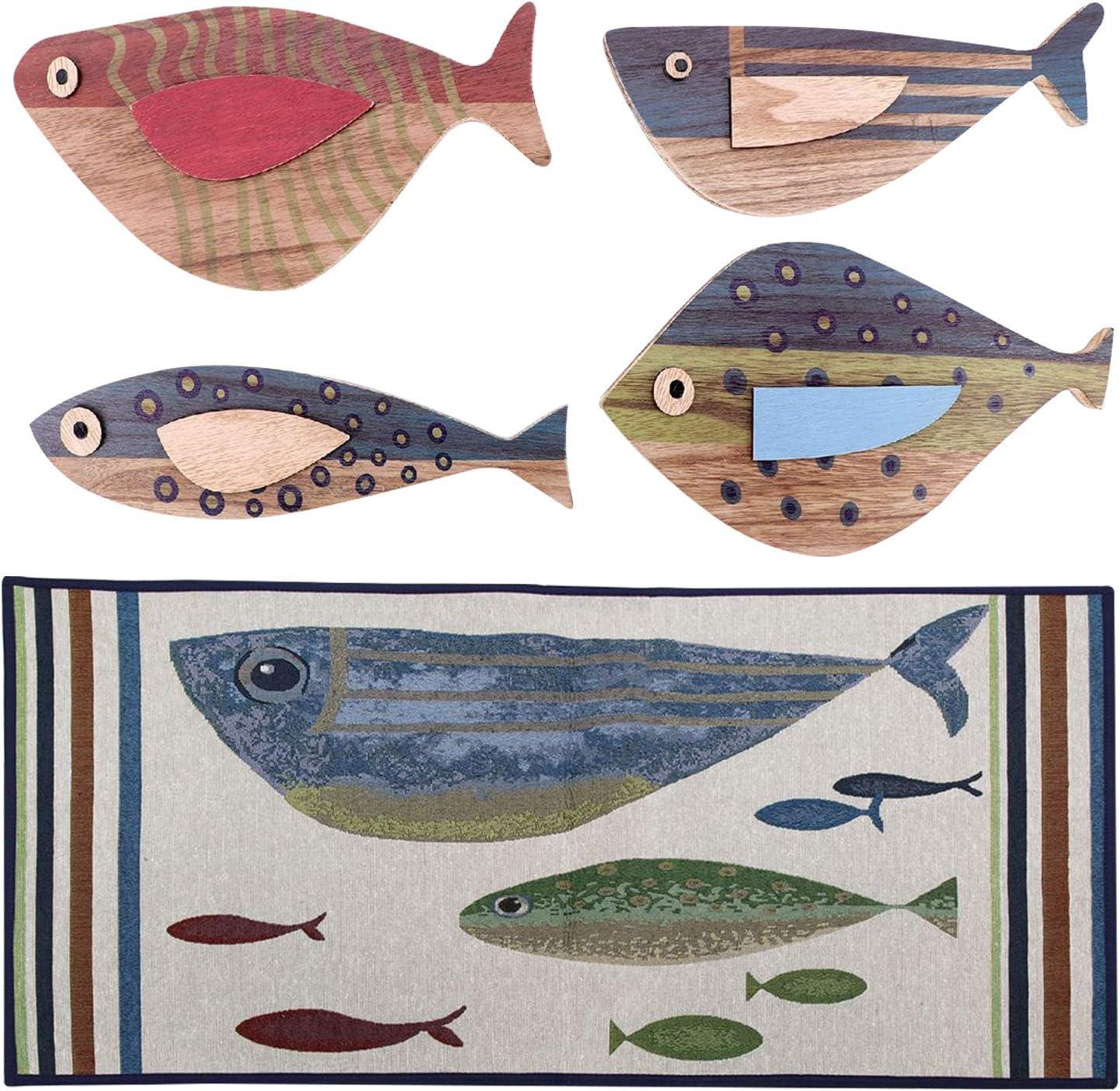 Corner Merchant Lake House Rug and Fish Wall Decor for The Home - Wooden Fish Wall Decor and Fish Rug Set