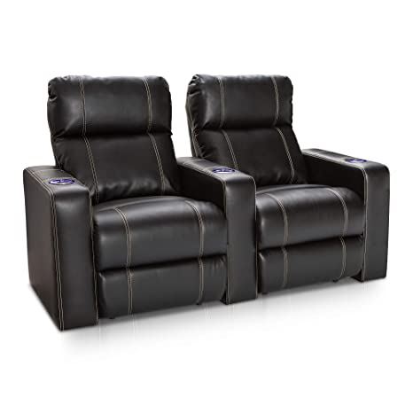Seatcraft Dynasty Home Theater Seating Black Bonded Leather Power Recline with Lighted Cupholders (Row of 2)