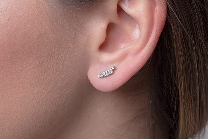 efaddb071 Amazon.com: Dainty diamond earrings, Diamond studs, Diamond bar earring, Curve  stud earrings, Pave diamond studs, Curve earrings, Black diamond earrings:  ...