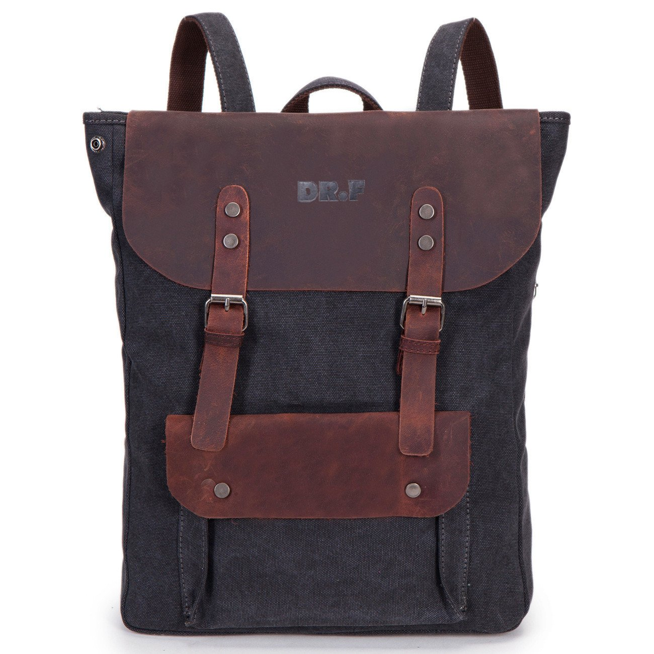 DRF Zaino Casual porta laptop/pc tablet in Tela e Pelle Vintage Altezza 45cm SKU:BG-40 (Blu)