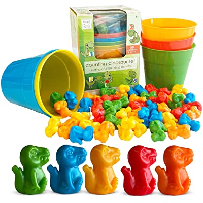 Hapinest Dinosaur Color Sorting and Counting Activity Set - Educational Learning Games for Toddlers Preschool Ages 4 Years and Up - Like Counting Bears: Toys & Games