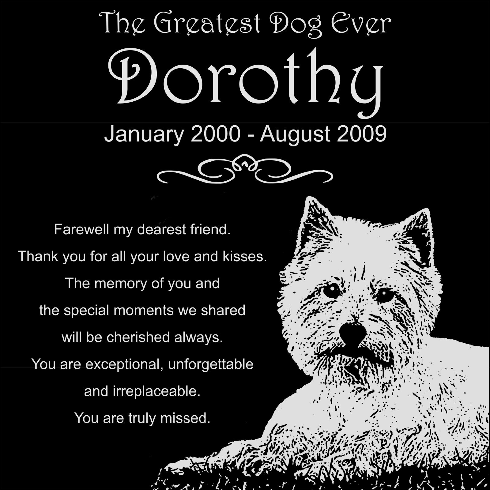 Personalized West Highland White Terrier Westie Dog Pet Memorial 12''x12'' Engraved Black Granite Grave Marker Head Stone Plaque DOR1 by Lazzari Collections