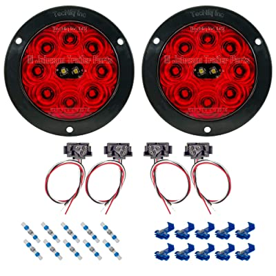 """TecNiq, Inc LED Tail Light Kit - 4"""" Round Hi Visibility Stop Turn Tail Lights w/Reverse Lights 