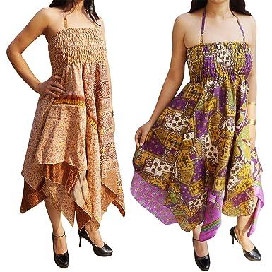c699fe4e4c0b1 Lot of 2 Womens Halter Dress Handkerchief Hem Recycled Sari Summer ...