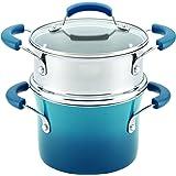Rachael Ray 17647 Nonstick Sauce Pot and Steamer Insert Set, 3 quart, Marine Blue Gradient