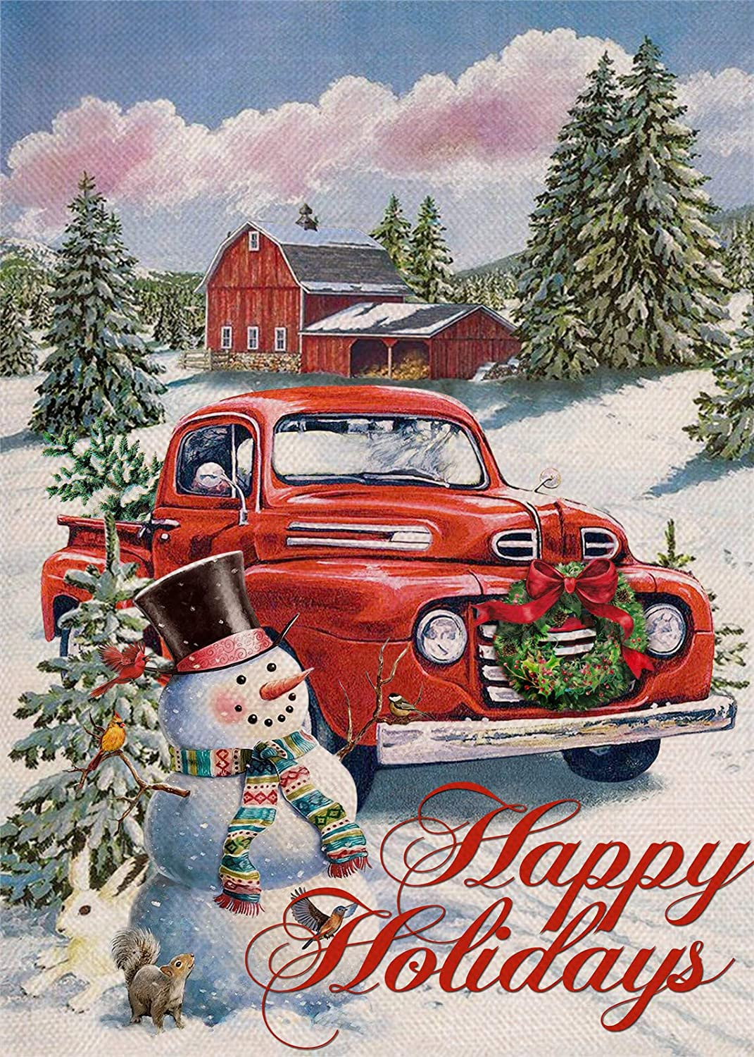 Covido Home Decorative Happy Holidays Christmas Garden Flag Country Red Truck House Yard Xmas Tree Snowman Barn Decor, Winter Holiday Farmhouse Outside Decoration Outdoor Small Flag Double Sided 12x18