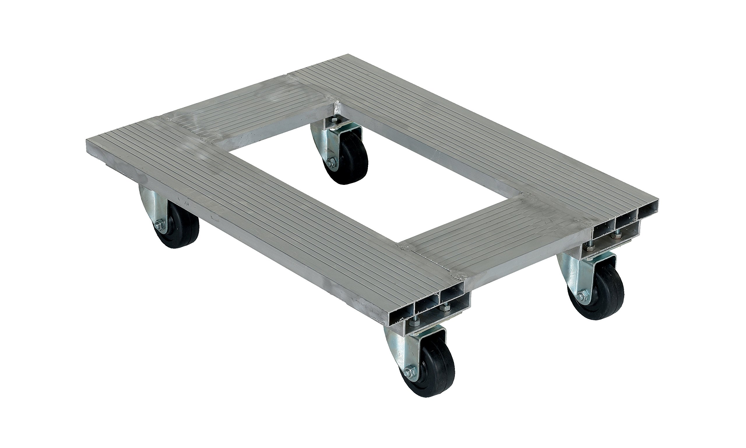 Vestil ACP-1824-9 Aluminum Channel Dolly with Hard Rubber Caster, 900 lbs Capacity, 24'' Length x 18'' Width x 6'' Height Deck