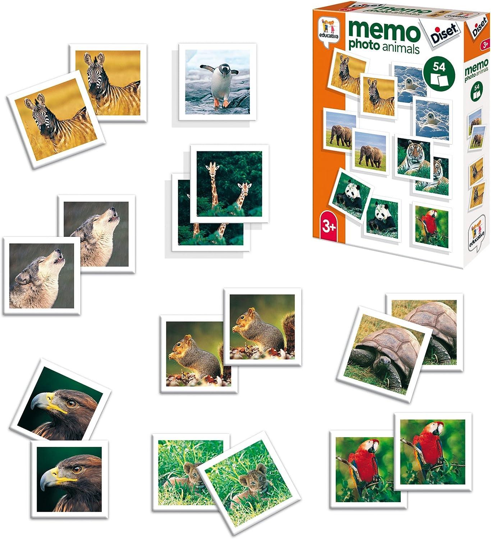 Diset- Memory Animales Fotos + 3 años Juguete educativos Memo Photo Animals (68941)