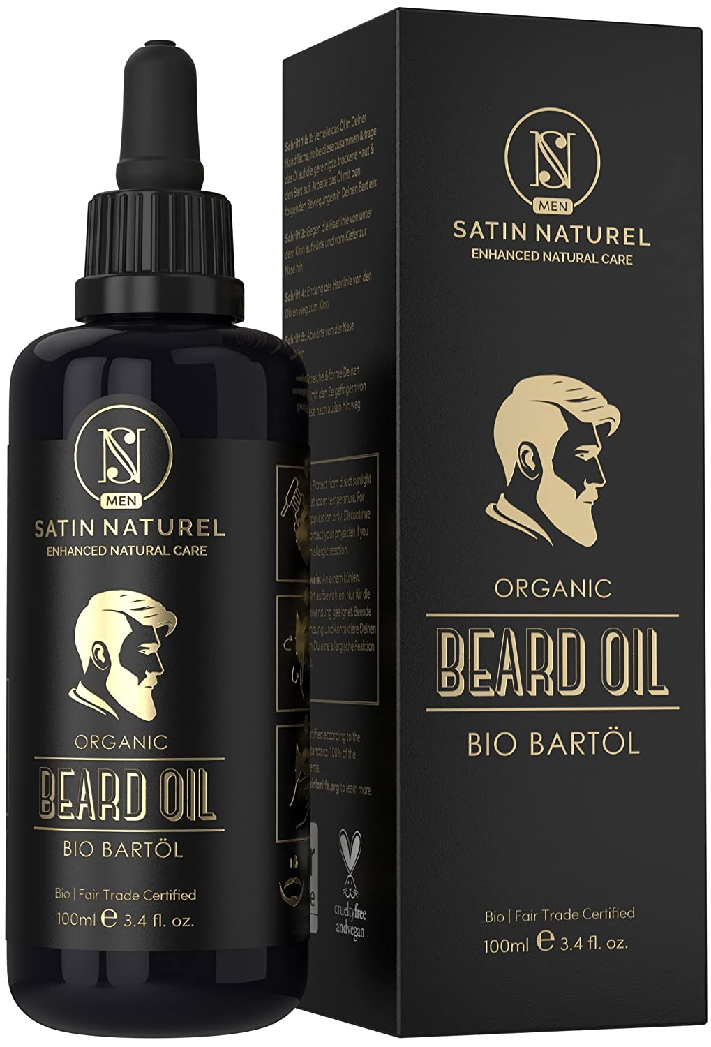Beard Oil Of Fair Trade Certified Organic Quality For Your Beard Care/All Natural Nourishment For A Healthy Beard/In 100ml Glass Bottle/Vegan & Made In Germany Del Decus Enterprises Ltd.