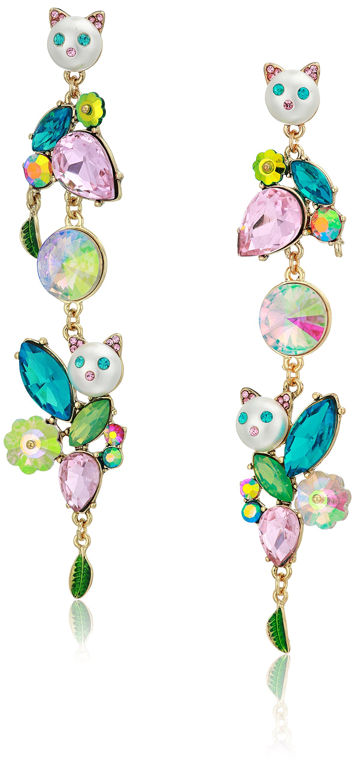 Betsey Johnson Women's Colorful Stone and Cat Cluster Linear Drop Earrings, Multi, One Size